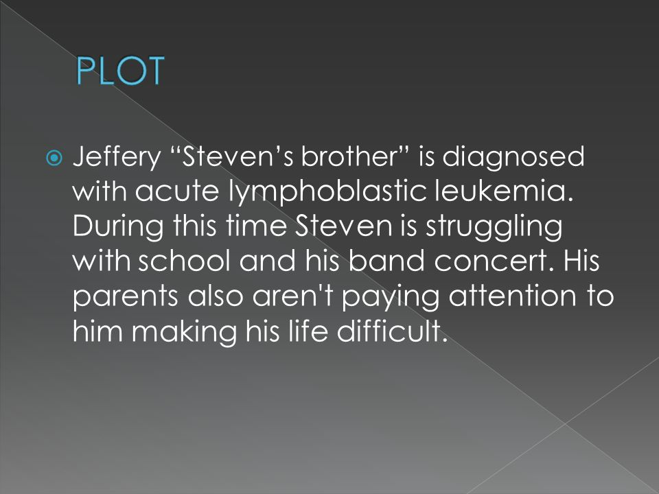 " Jeffery ""Steven's brother"" is diagnosed with acute lymphoblastic leukemia. During this time Steven is struggling with school and his band concert. H"