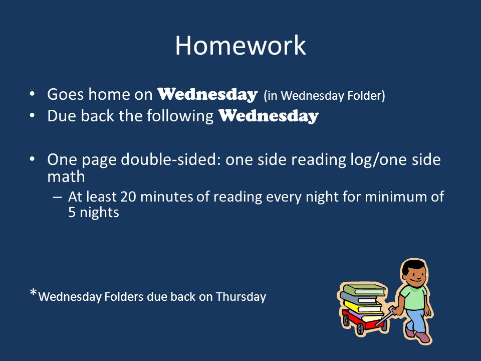 Homework Goes home on Wednesday (in Wednesday Folder) Due back the following Wednesday One page double-sided: one side reading log/one side math – At least 20 minutes of reading every night for minimum of 5 nights * Wednesday Folders due back on Thursday