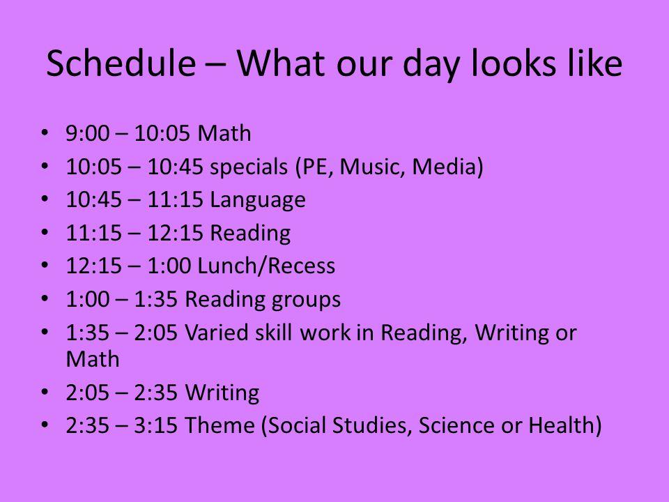 Schedule Mr.Adams – A - Music – B - PE – C - Media Mrs.