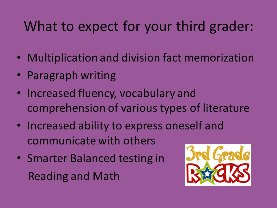 What to expect for your third grader: Multiplication and division fact memorization Paragraph writing Increased fluency, vocabulary and comprehension of various types of literature Increased ability to express oneself and communicate with others Smarter Balanced testing in Reading and Math