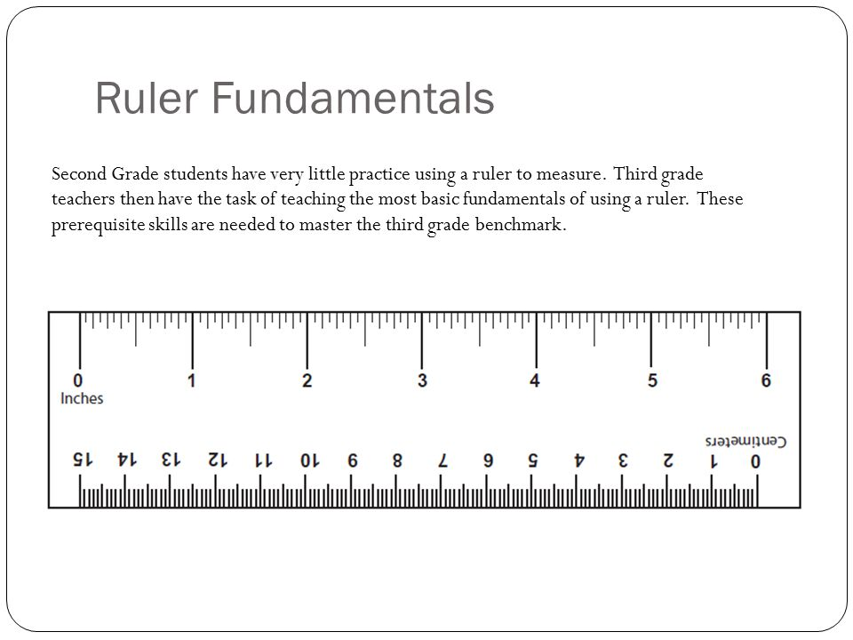Ruler Fundamentals Second Grade students have very little practice using a ruler to measure. Third grade teachers then have the task of teaching the m
