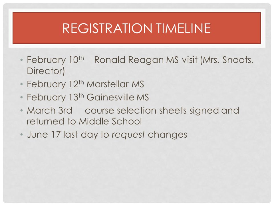 REGISTRATION TIMELINE February 10 th Ronald Reagan MS visit (Mrs.