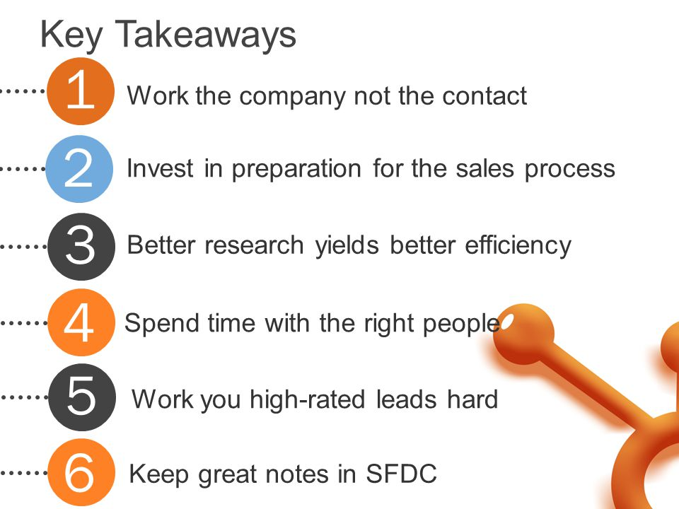 Key Takeaways Work the company not the contact Invest in preparation for the sales process Better research yields better efficiency Spend time with th