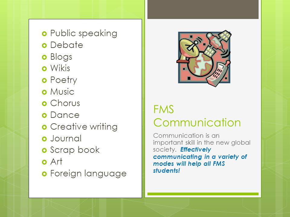  Current events  Classroom activities  Community activities  FMS International Fair  Visiting guests and speakers  Travel opportunities in spring and summer FMS International Education Exposure to different cultures, identifying individual student culture, and understanding differences will be a focus of class activities and school activities.