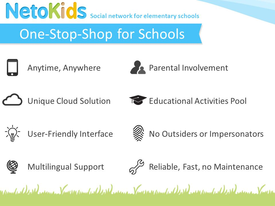 Social network for elementary schools Safe Place for Kids At NetoKids, protecting children and keeping them safe is our highest priority.