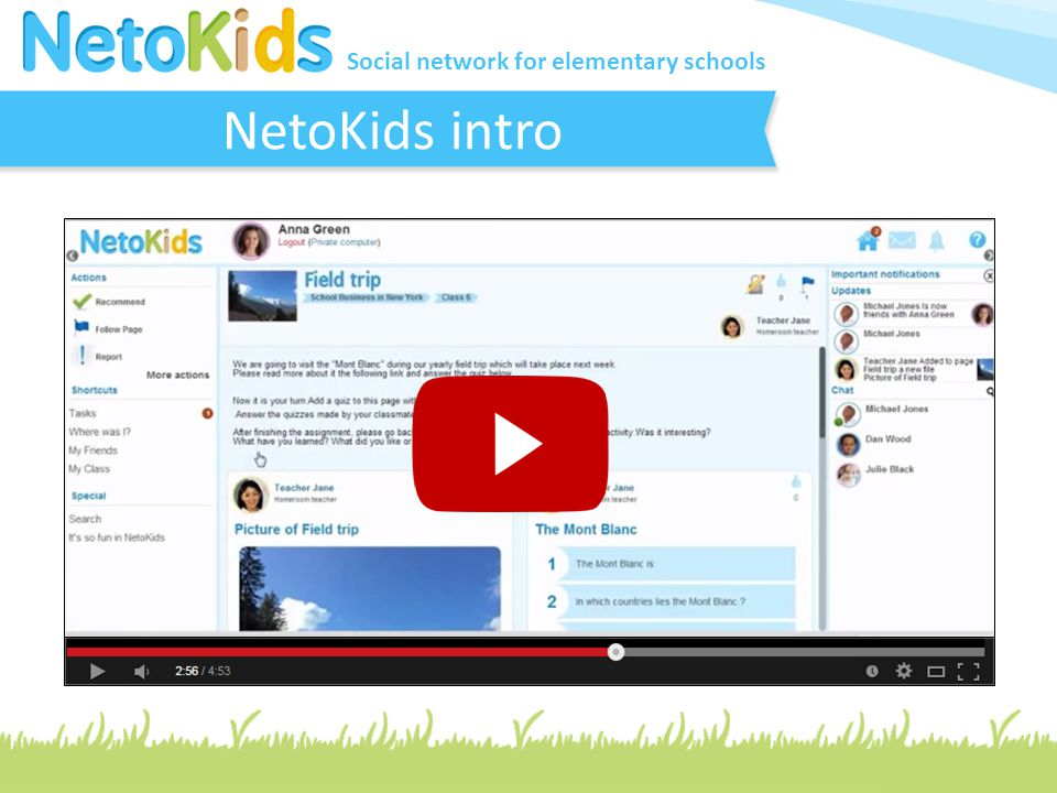 Social network for elementary schools Full Support for Schools NetoKids support and guide teachers during the sign up process and the ongoing activities on the platform by: Tech-Pedagogical Consultant Online Walkthrough & Guidance Intro tasks & Real time support Social & Educational Activities pool