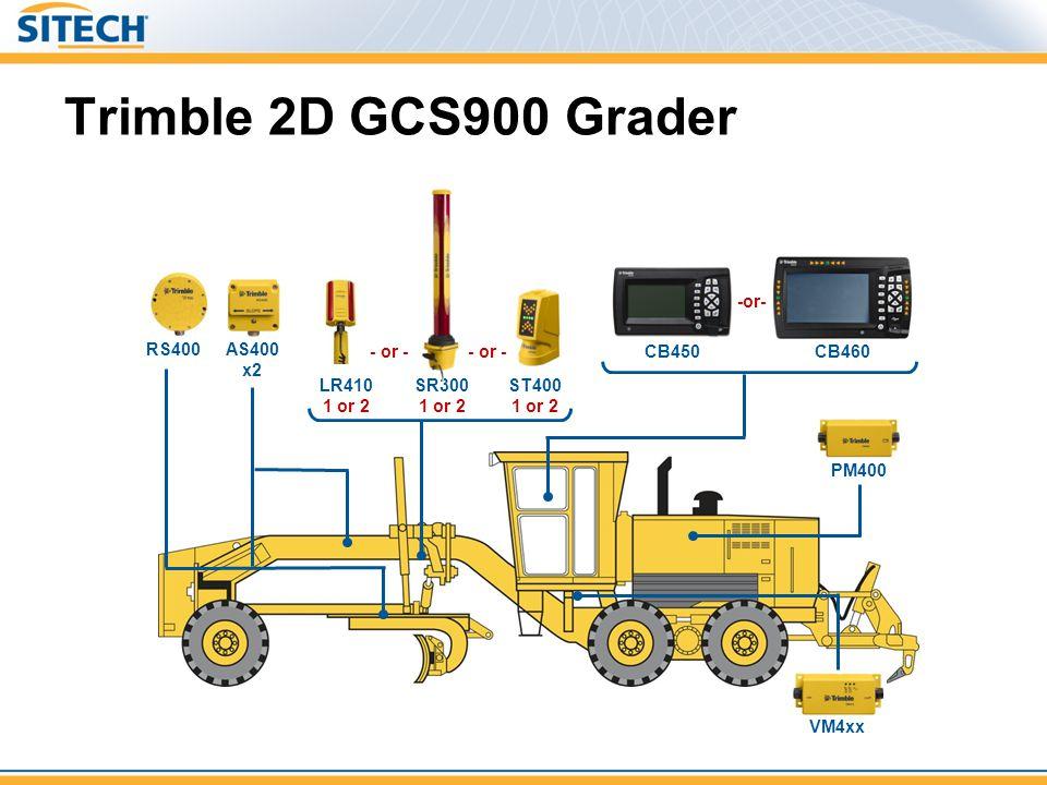 Trimble 2D GCS900 Grader RS400 SR300 1 or 2 LR410 1 or 2 AS400 x2 ST400 1 or 2 - or - PM400 VM4xx CB460 CB450 -or-