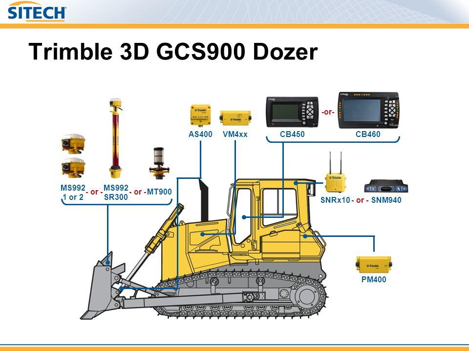 Trimble 3D GCS900 Dozer SNRx10 PM400 SNM940 - or - MS992 1 or 2 MT900- or - MS992 SR300 AS400VM4xx CB460 CB450 -or-