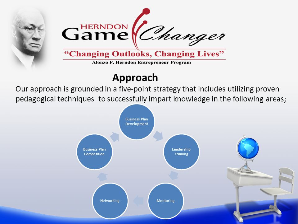 Our approach is grounded in a five-point strategy that includes utilizing proven pedagogical techniques to successfully impart knowledge in the following areas; Business Plan Development Leadership Training MentoringNetworking Business Plan Competition Approach