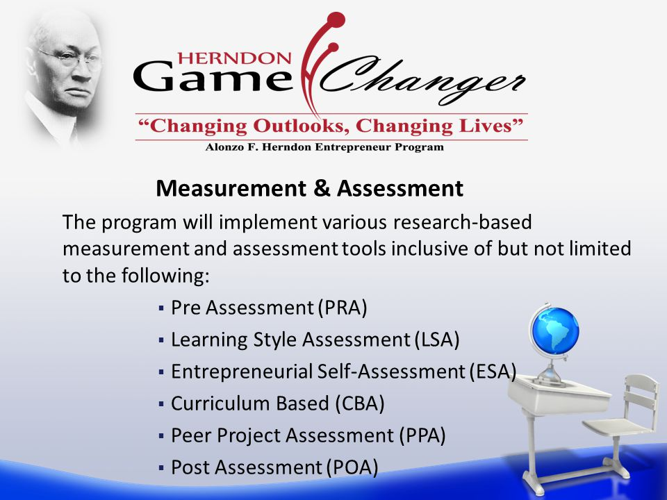 The program will implement various research-based measurement and assessment tools inclusive of but not limited to the following:  Pre Assessment (PRA)  Learning Style Assessment (LSA)  Entrepreneurial Self-Assessment (ESA)  Curriculum Based (CBA)  Peer Project Assessment (PPA)  Post Assessment (POA) Measurement & Assessment
