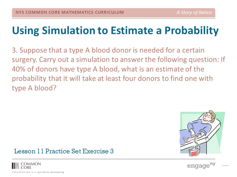 © 2012 Common Core, Inc. All rights reserved. commoncore.org NYS COMMON CORE MATHEMATICS CURRICULUM A Story of Ratios Using Simulation to Estimate a P