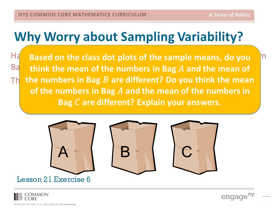 © 2012 Common Core, Inc. All rights reserved. commoncore.org NYS COMMON CORE MATHEMATICS CURRICULUM A Story of Ratios Why Worry about Sampling Variabi
