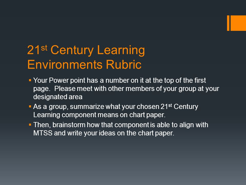 21 st Century Learning Environments Rubric  Your Power point has a number on it at the top of the first page. Please meet with other members of your