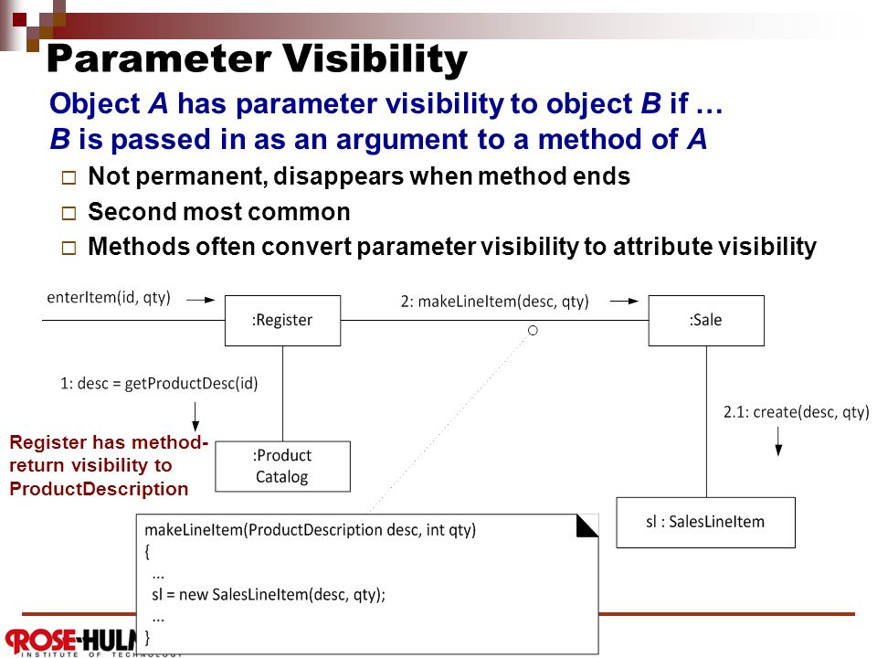 Parameter Visibility Object A has parameter visibility to object B if … B is passed in as an argument to a method of A  Not permanent, disappears when method ends  Second most common  Methods often convert parameter visibility to attribute visibility Register has method- return visibility to ProductDescription