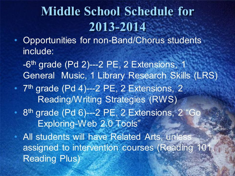 Middle School Schedule for 2013-2014 Opportunities for non-Band/Chorus students include: -6 th grade (Pd 2)---2 PE, 2 Extensions, 1 General Music, 1 Library Research Skills (LRS) 7 th grade (Pd 4)---2 PE, 2 Extensions, 2 Reading/Writing Strategies (RWS) 8 th grade (Pd 6)---2 PE, 2 Extensions, 2 Go Exploring-Web 2.0 Tools All students will have Related Arts, unless assigned to intervention courses (Reading 101, Reading Plus)