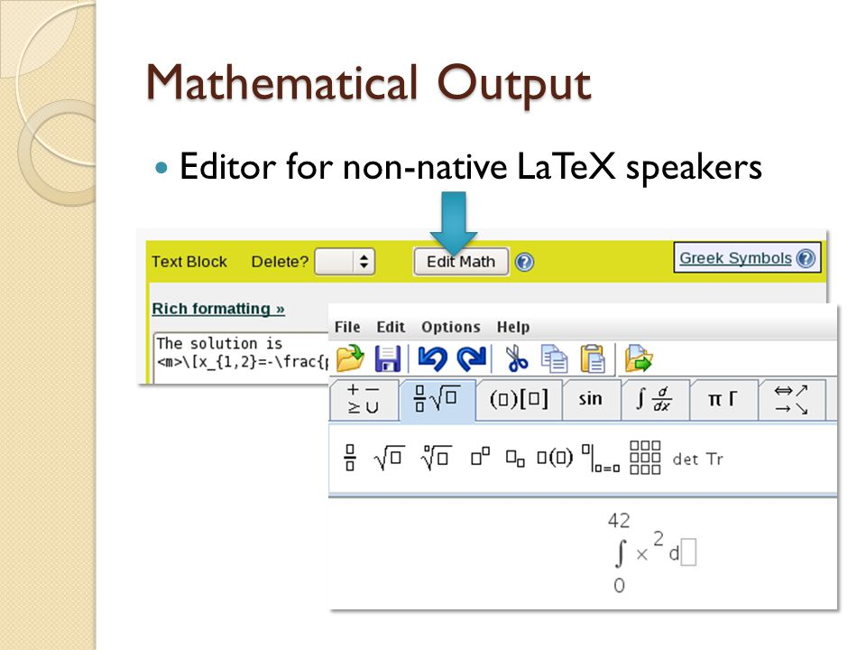 Mathematical Output Editor for non-native LaTeX speakers