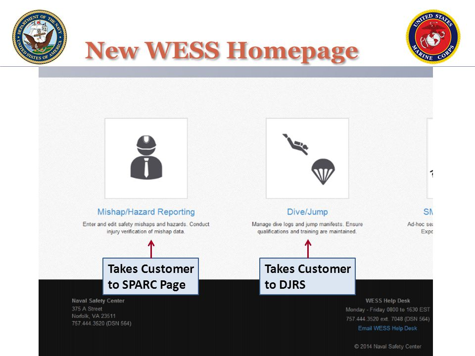 Takes Customer to SPARC Page Takes Customer to DJRS New WESS Homepage
