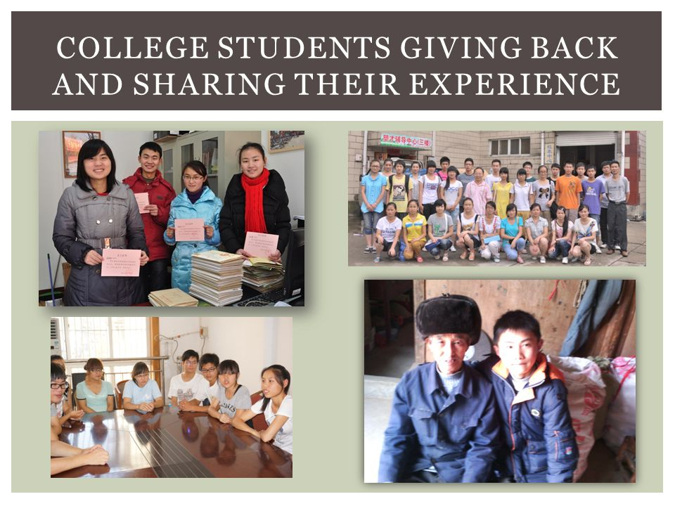 COLLEGE STUDENTS GIVING BACK AND SHARING THEIR EXPERIENCE