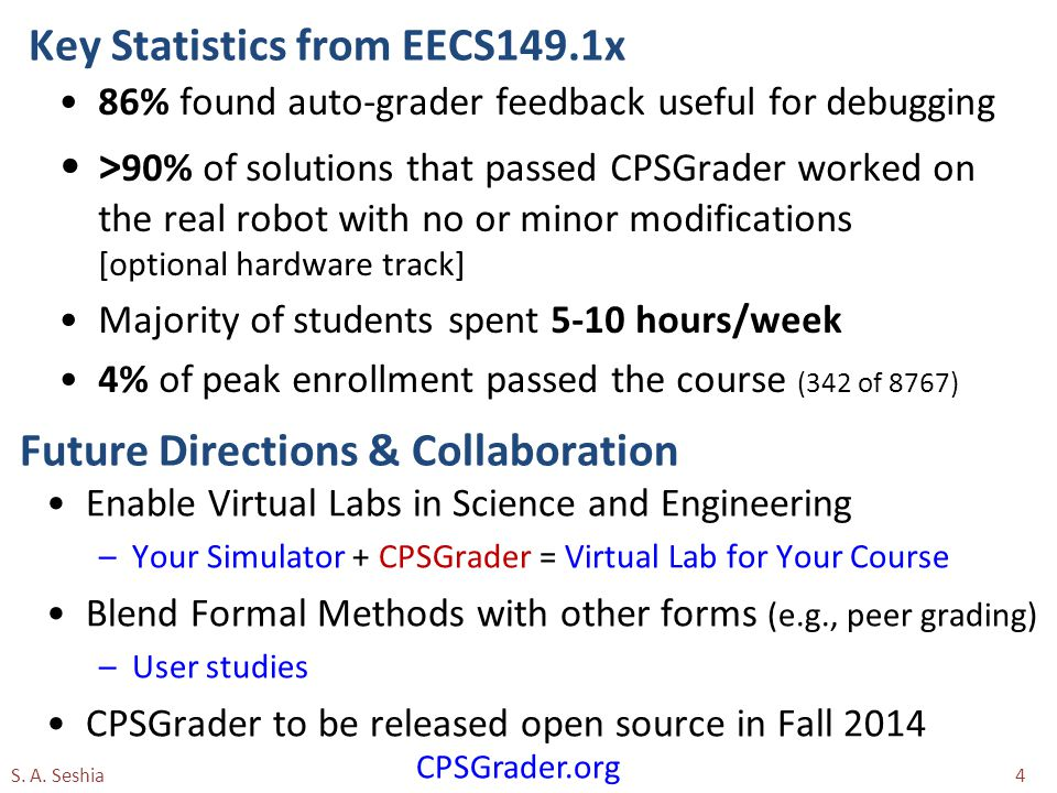 Key Statistics from EECS149.1x 86% found auto-grader feedback useful for debugging > 90% of solutions that passed CPSGrader worked on the real robot with no or minor modifications [optional hardware track] Majority of students spent 5-10 hours/week 4% of peak enrollment passed the course (342 of 8767) S.