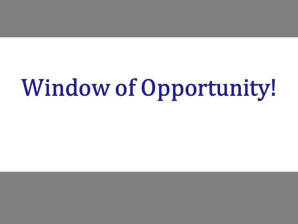 Window of Opportunity!