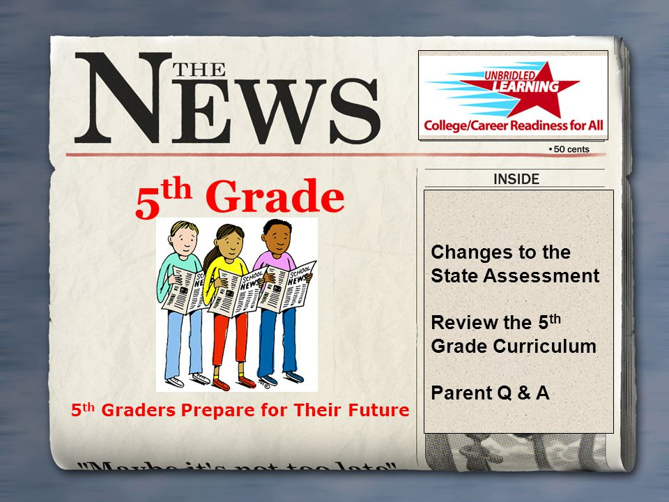 5 th Grade 5 th Graders Prepare for Their Future Changes to the State Assessment Review the 5 th Grade Curriculum Parent Q & A 5 th Grade Curriculum