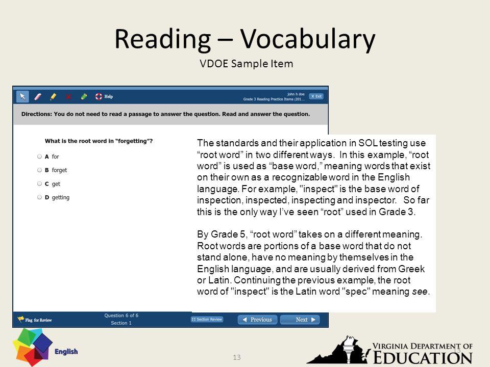 12 Reading – Vocabulary VDOE Sample Item 12