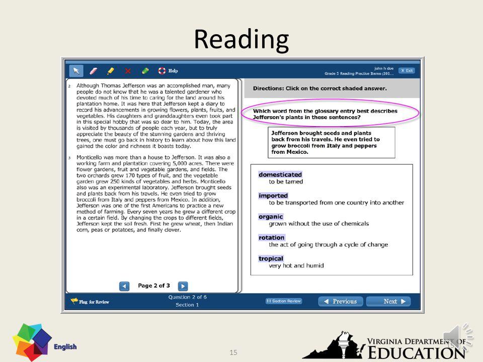 14 Reading – Vocabulary VDOE Sample Item 14