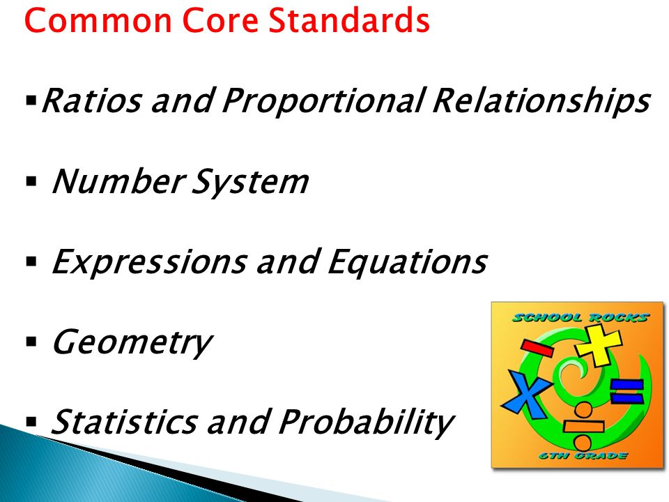 Common Core Standards  Ratios and Proportional Relationships  Number System  Expressions and Equations  Geometry  Statistics and Probability