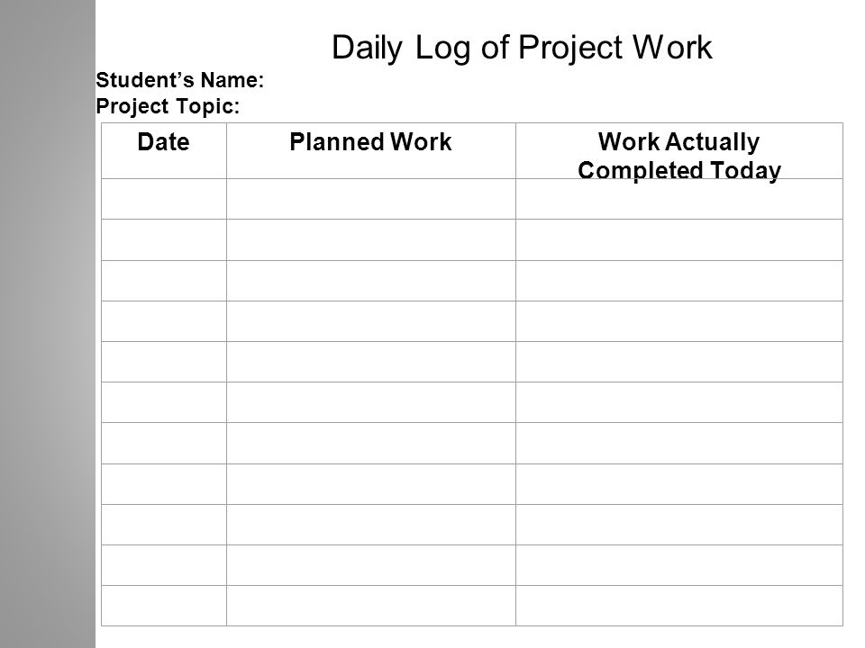 Daily Log of Project Work Student's Name: Project Topic: DatePlanned WorkWork Actually Completed Today