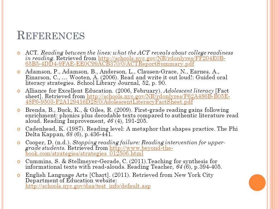 R EFERENCES Ferguson, J.& Wilson, J. (2009). Guided reading: It's for the primary teachers.