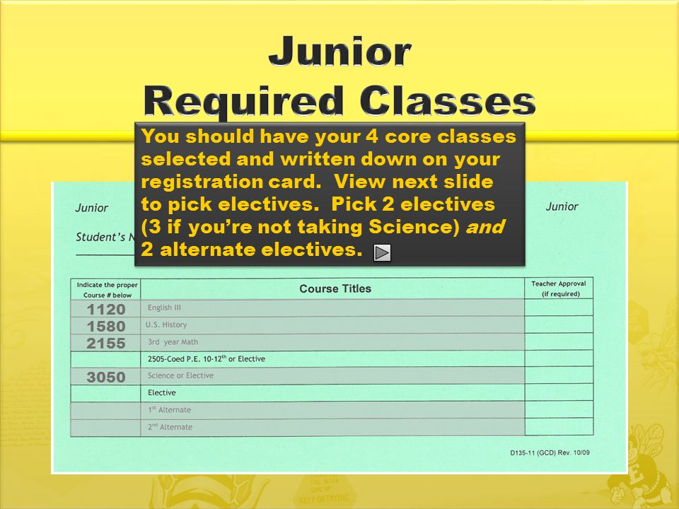 1120 1580 2155 You should have your 4 core classes selected and written down on your registration card.