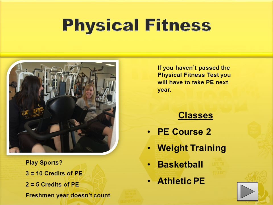 If you haven't passed the Physical Fitness Test you will have to take PE next year.