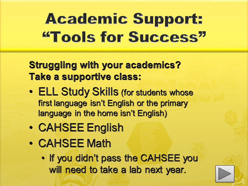 Struggling with your academics? Take a supportive class: ELL Study Skills (for students whose first language isn't English or the primary language in