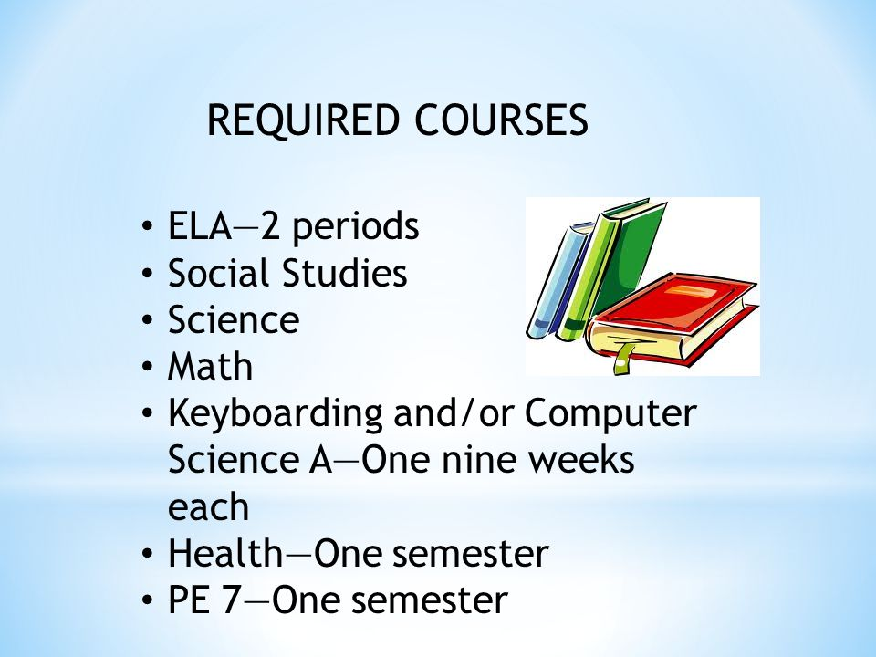 REQUIRED COURSES ELA—2 periods Social Studies Science Math Keyboarding and/or Computer Science A—One nine weeks each Health—One semester PE 7—One semester