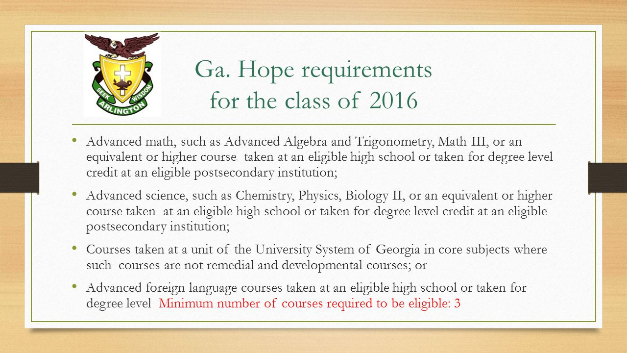 Ga. Hope requirements for the class of 2016 Advanced math, such as Advanced Algebra and Trigonometry, Math III, or an equivalent or higher course take