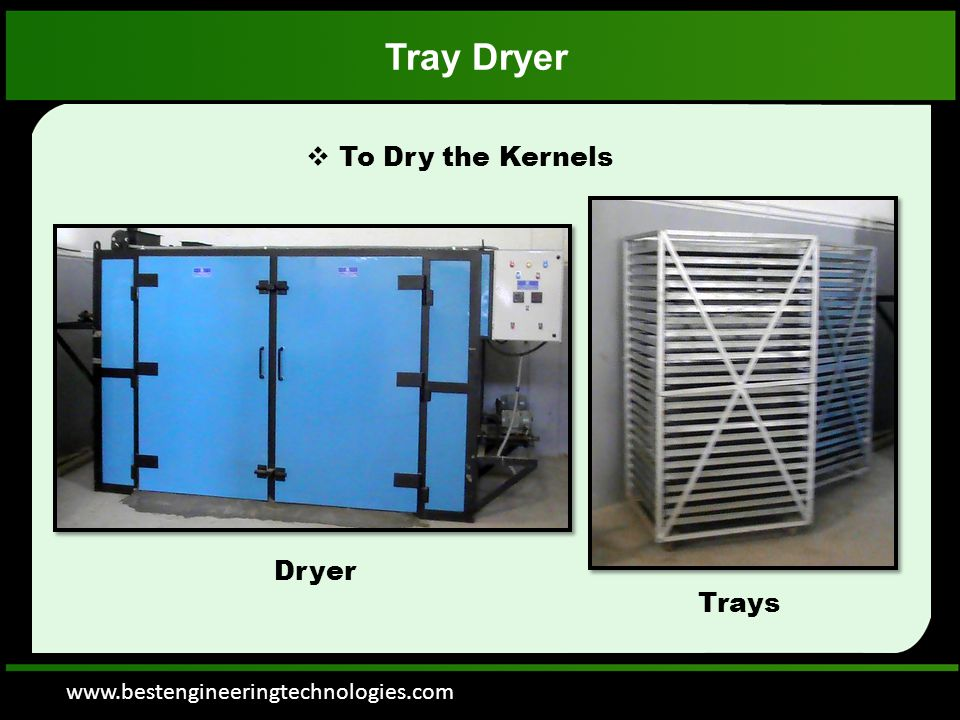 www.bestengineeringtechnologies.com Tray Dryer  To Dry the Kernels Dryer Trays
