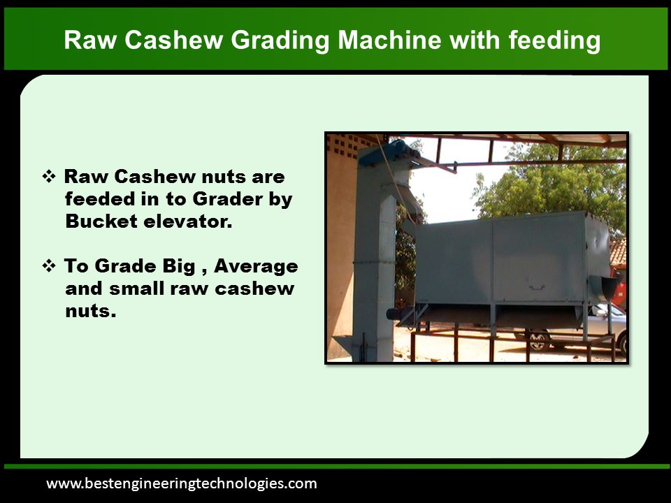 www.bestengineeringtechnologies.com Raw Cashew Grading Machine with feeding  Raw Cashew nuts are feeded in to Grader by Bucket elevator.