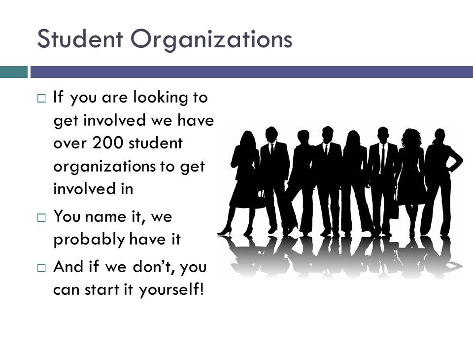 Student Organizations  If you are looking to get involved we have over 200 student organizations to get involved in  You name it, we probably have it  And if we don't, you can start it yourself!