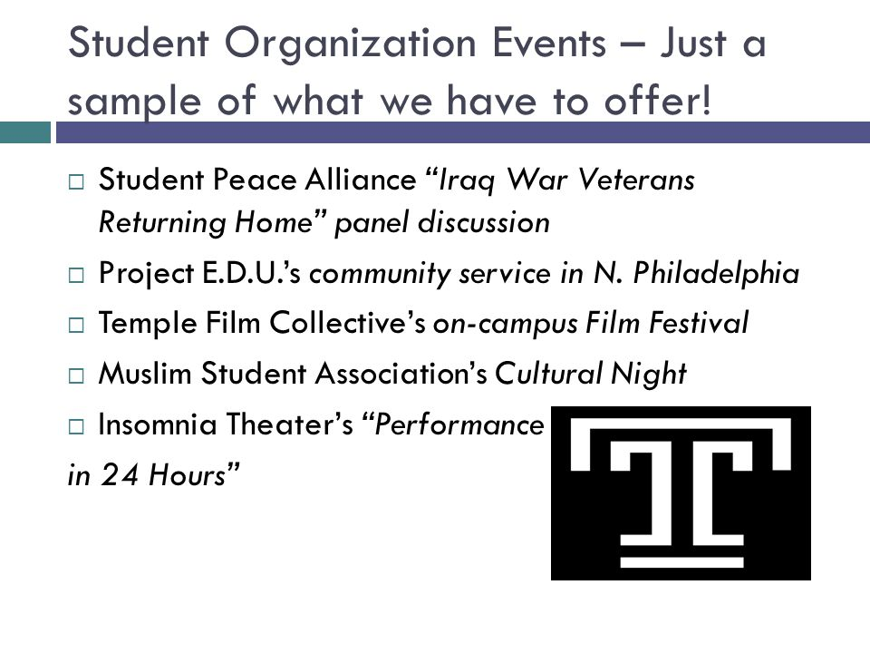 Student Organization Events – Just a sample of what we have to offer.