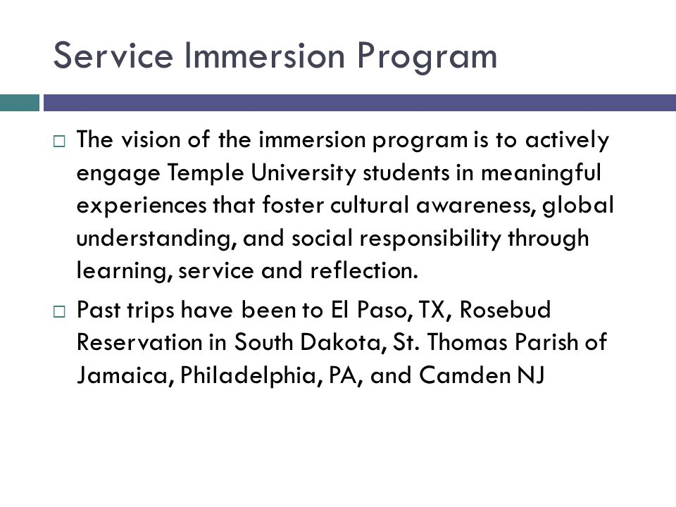 Service Immersion Program  The vision of the immersion program is to actively engage Temple University students in meaningful experiences that foster cultural awareness, global understanding, and social responsibility through learning, service and reflection.