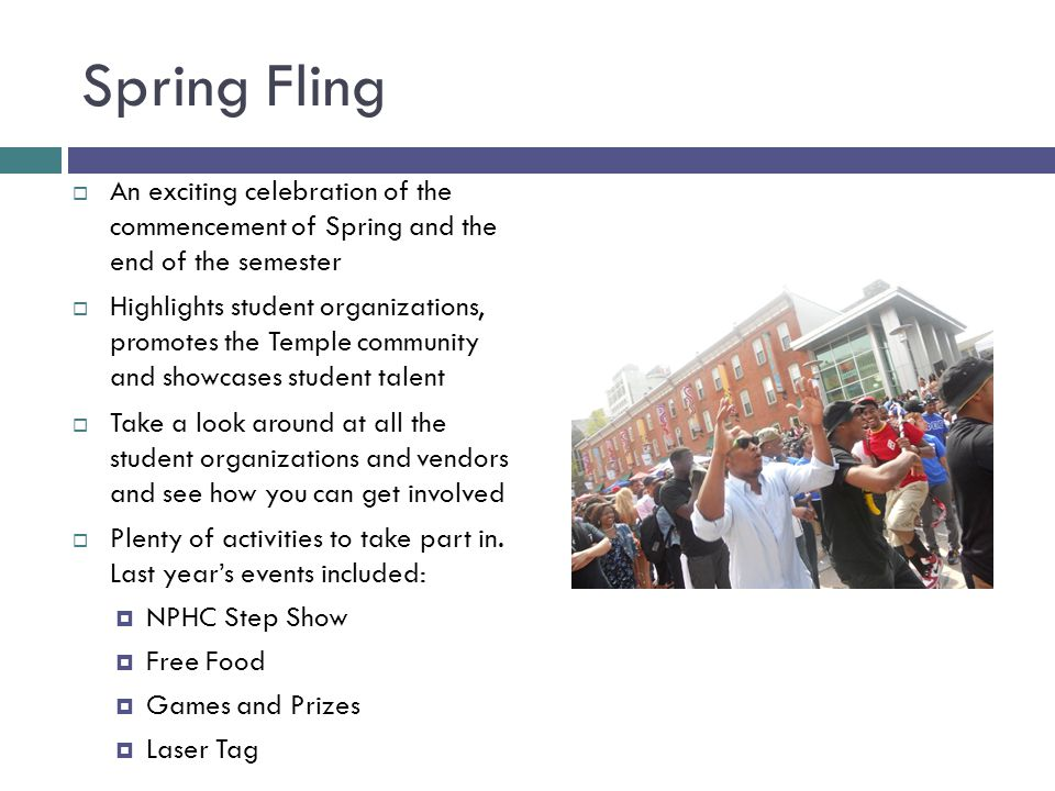 Spring Fling  An exciting celebration of the commencement of Spring and the end of the semester  Highlights student organizations, promotes the Temple community and showcases student talent  Take a look around at all the student organizations and vendors and see how you can get involved  Plenty of activities to take part in.