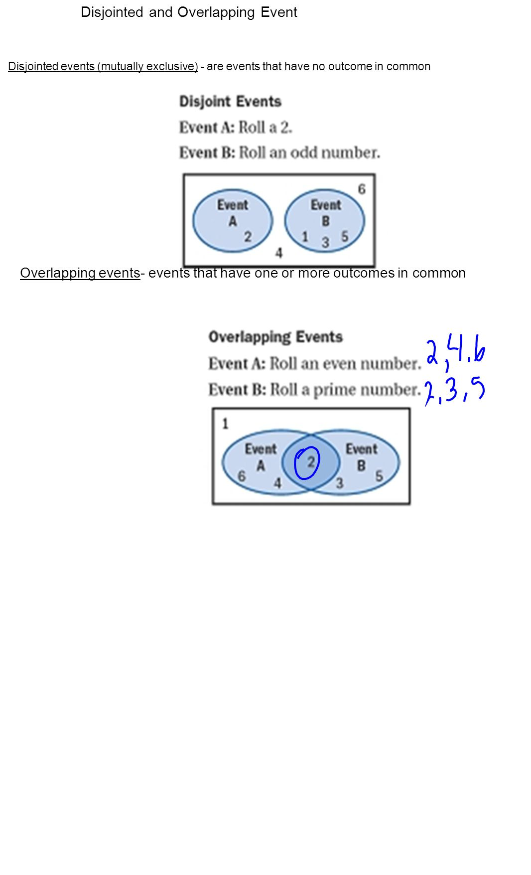 Disjointed and Overlapping Event Disjointed events (mutually exclusive) - are events that have no outcome in common Overlapping events- events that have one or more outcomes in common