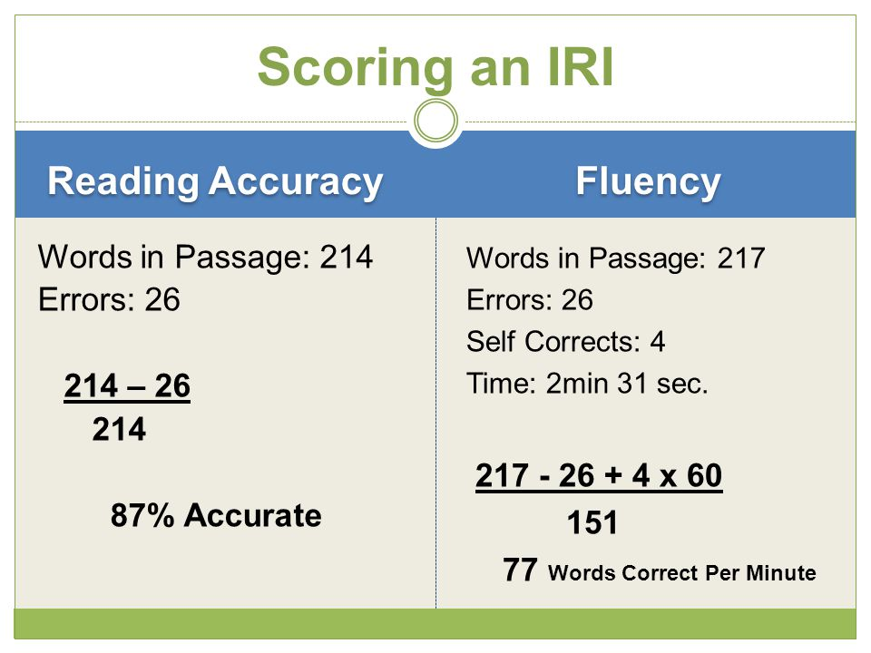 Reading Accuracy Words in Passage: 214 Errors: 26 214 – 26 214 87% Accurate Words in Passage: 217 Errors: 26 Self Corrects: 4 Time: 2min 31 sec.