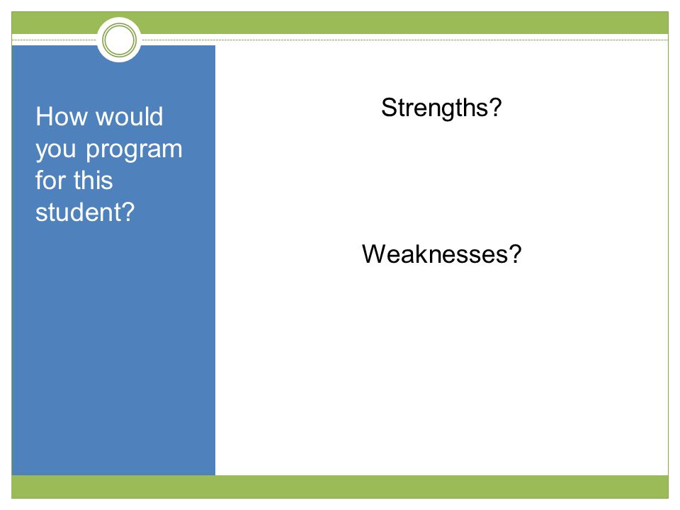 How would you program for this student Strengths Weaknesses