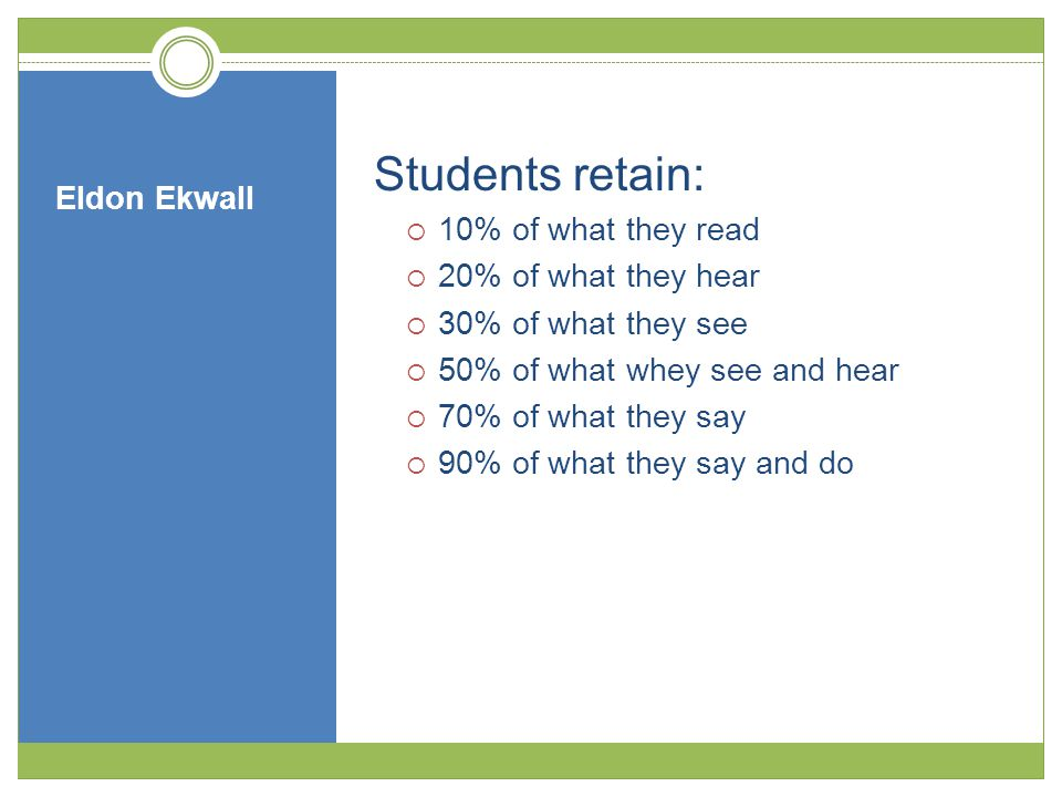 Eldon Ekwall Students retain:  10% of what they read  20% of what they hear  30% of what they see  50% of what whey see and hear  70% of what they say  90% of what they say and do