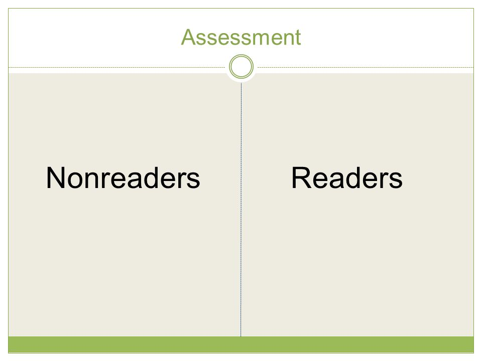 Assessment Nonreaders Readers