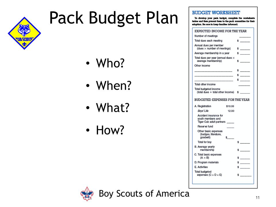 Pack Budget Plan Who? When? What? How? Boy Scouts of America 11
