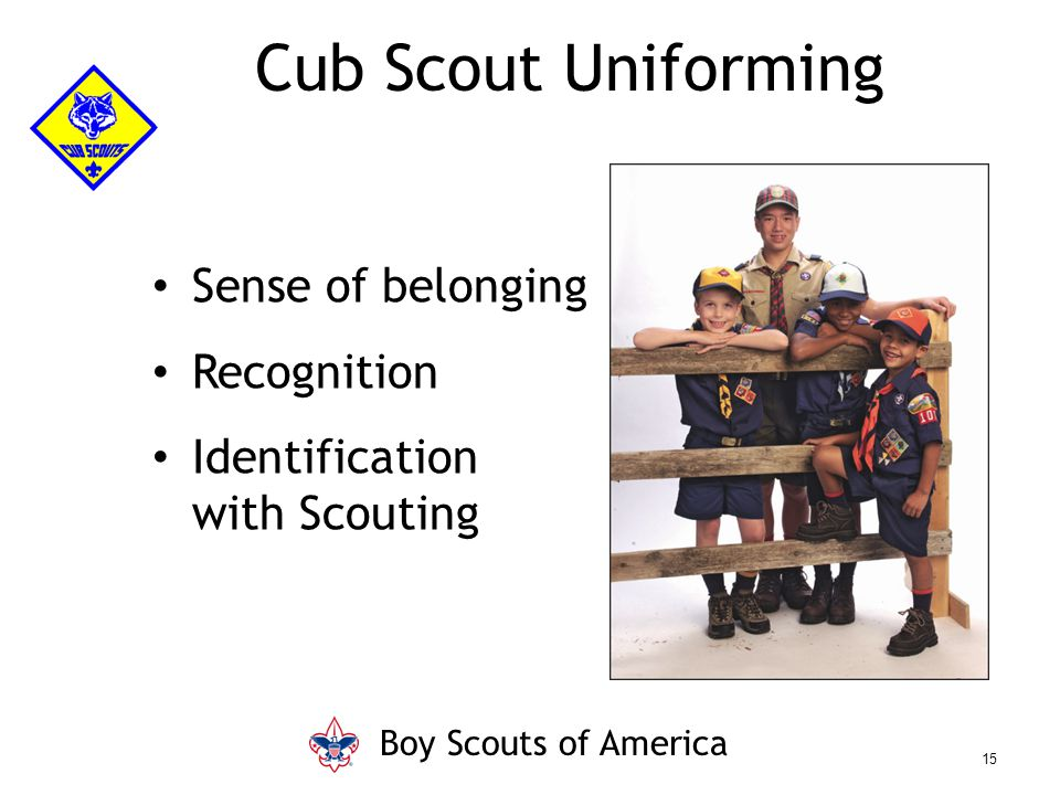 Cub Scout Uniforming Sense of belonging Recognition Identification with Scouting Boy Scouts of America 15