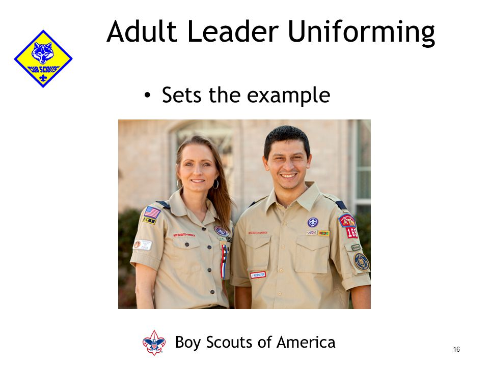 Adult Leader Uniforming Sets the example Boy Scouts of America 16
