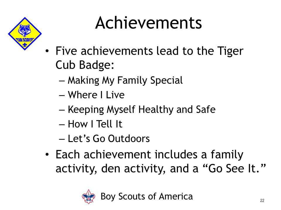 Five achievements lead to the Tiger Cub Badge: – Making My Family Special – Where I Live – Keeping Myself Healthy and Safe – How I Tell It – Let's Go